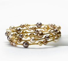Large Wrist Memory Wire Bracelet - Gold Swarovski Pearl Bracelet - Gold Plus Size Bracelet
