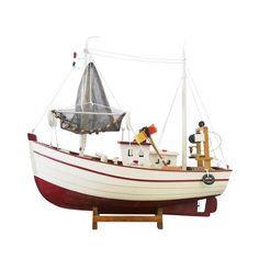 Miniatura Barco Pesqueiro Grande Branco e Vermelho em Madeira - 45x39 cm| Carro de Mola - Decorar faz bem.