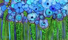 Ink Drawings Alcohol Ink Mixed Media - Wild Blue Poppies by Carol Cavalaris - Alcohol Ink Tiles, Alcohol Ink Crafts, Alcohol Ink Painting, Art Floral, Ouvrages D'art, Ink Drawings, Painting & Drawing, Painting Abstract, Diy Painting
