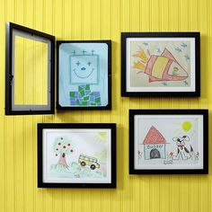 - frames that open to easily hold new art works from kids : makes displaying art easy and good looking!