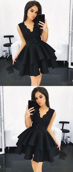 Black Homecoming Dress,V Neck Homecoming Dress,Lace Homecoming Dress,Ruffles Homecoming Dress,Short Prom Dress