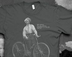 Mark Twain Bike quote Tshirt Mens American Apparel color t-shirt