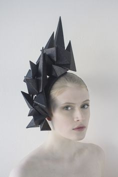 """Wearable Art - Paper Art - Origami Fashion - Geometric Headpiece. """"Crystal Habit Forming"""" Headpiece Series. Paper Headpieces inspired by minerals. www.misassembled.com"""