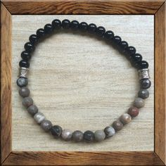 "Black #OBSIDIAN is sometimes known as the ""wizard stone"". A #protective stone, worn to guard against negativity, demanding people + hostile entities. #TIGER IRON #JASPER carries the energies the Sun and as such, it can promote well-being and a sunny disposition. Tiger Iron Jasper is widely thought to promote #self-confidence + #self-assurance"
