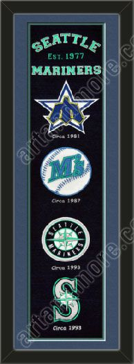 This framed Seattle Mariners heritage banner, double matted in team colors to 8 x 32 inches.  $119.99 @ ArtandMore.com