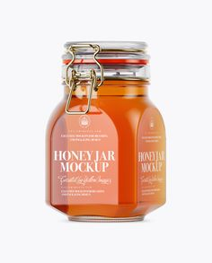 Pure Honey Glass Jar w/ Clamp Lid Mockup - Half Side View. Present your design on this mockup. Includes special layers and smart objects for your creative works. Phone Mockup, How To Make Logo, Glass Jars, Clear Glass, Bottle Mockup, Packaging, Dessert Food, Stationery, Side View