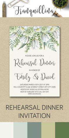 Printable Rehearsal Dinner Invitation, Wedding Rehearsal Invitation, Modern…
