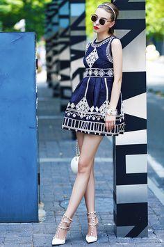 Navy Pattern Sleeveless Flare Designer Dress - ShopGalaxie
