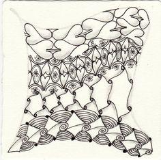 Ein Zentangle aus den Mustern Heart S, Hexicat, Kollide, Lovely Blooms gezeichnet von Ela Rieger, CZT