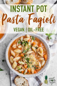 This vegan Pasta Fagioli is one for the books! Not only is it easy to make, but it also requires just 10 simple ingredients, is ready in under an hour and is just so dang good. soup Vegan Instant Pot Pasta Fagioli (aka Pasta and Beans) Top Recipes, Pasta Recipes, Whole Food Recipes, Healthy Recipes, Instapot Vegan Recipes, Recipes Dinner, Vegetarian Pasta Fagioli Recipe, Vegan Bean Recipes, Vegan Crockpot Recipes