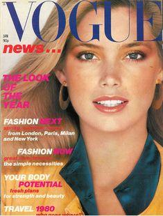 Kelly Emberg by Patrick Demarchelier Vogue UK January 1980 Vogue Magazine Covers, Fashion Magazine Cover, Fashion Cover, Vogue Covers, Fashion Now, Vogue Fashion, Fashion Models, High Fashion, Kelly Lebrock