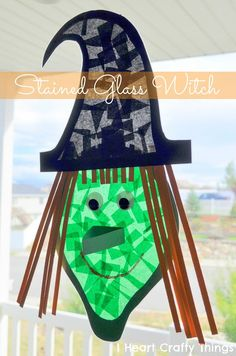 Stained Glass Witch Craft for Kids, perfect Halloween Kids Craft. halloween crafts for kids Diy Halloween Activities, Scary Halloween Crafts, Halloween Bebes, Theme Halloween, Holidays Halloween, Halloween Decorations, Halloween Ideas, Preschool Halloween, Fall Crafts