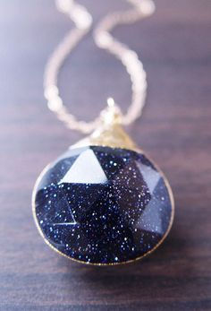 Midnight Skies Necklace. This is Midnight Blue Goldstone..... I have never heard of the stone, but it is beautiful!