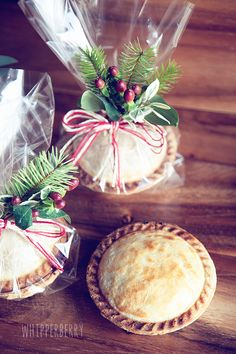 mini pies gifting ..use clear cellophane bags with added holiday greenery tied with baker's twine