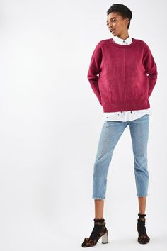 This laidback-cool crew neck jumper is a great everyday piece, with zip sides for added edge. To master the look, we've styled with cropped jeans and heeled sandals. #Topshop