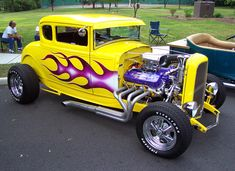 931 Ford Model A Coupe Yellow and Purple