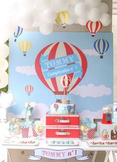 Hot Air Balloon Birthday Dessert Table Backdrop
