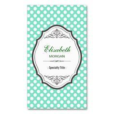 Cute Mint Green Polka Dots Elegant Vintage Frame Business Card Templates