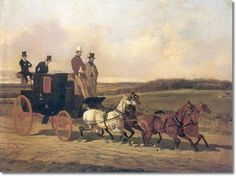 John Dalby - Coach with Four Horses on Country Road by John Dalby