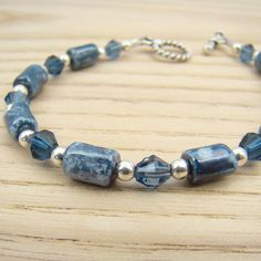 Denim blue bracelet vintage Austrian beads by laurelmoonjewelry, $18.00