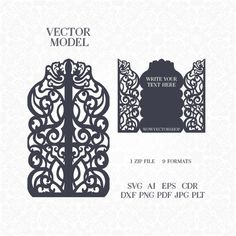 Laser cut Envelope Template for wedding invitation or greeting Wedding Invitations Silhouette, Tree Wedding Invitations, Wedding Cards, Silhouette Cameo Boxes, Laser Paper, Invitation Envelopes, Card Patterns, Card Templates, Paper Cutting