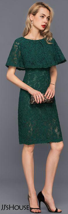 Sheath/Column Scoop Neck Knee-Length Lace Cocktail Dress#JJsHouse #Cocktail dresses