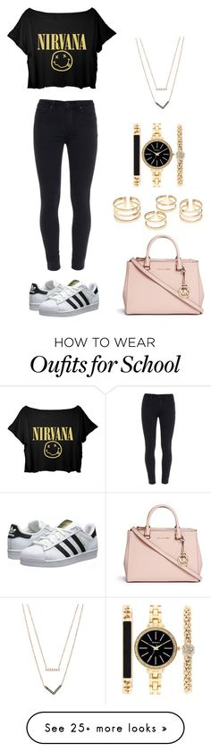 School life by xrobinnx on Polyvore featuring Paige Denim, adidas Originals, Michael Kors and Style  Co.