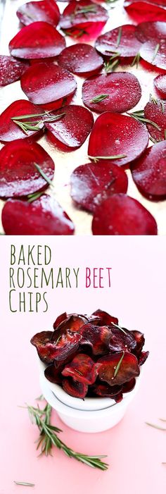 Baked Rosemary Beet Chips #Vegan #HealthySnacks #BeetChips #EatHealthy