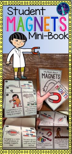 This mini-book is all about magnets! The mini-book can be used to introduce, review, or reinforce basic facts (and a little history) on magnets. Topics covered in this mini-book include: magnetic fields, basic principles of attract and repel, what exactly a magnet is attracted to, shapes and sizes of a variety of magnets, basic history of magnets and loadstone, and one fact about magnets today.  #TpT #Magnets #ScienceLessons #Teacherspayteachers