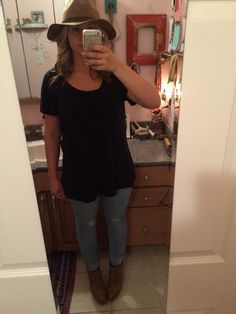 Slouch T target, light skinny stretch old navy, hat H&M London, booties Giani Bini, phone case Rifle Paper Co #ootd