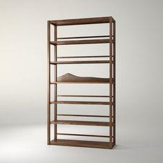 六道书架 规格:W900×D340×H2060 材质:卡斯楠 卡斯楠多层板 颜色:胡桃色亚光漆 设计师:康佳为