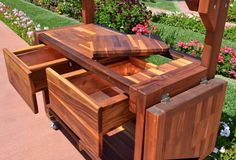 Eli S Potting Bench Options Old Growth Redwood Casters