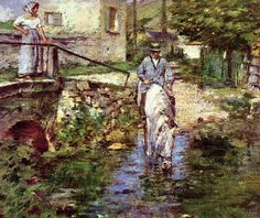 The Athenaeum - Pere Trognon and His Daughter at the Bridge (Theodore Robinson - )