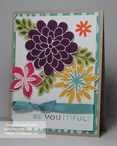 Flower Patch and Flower Fair framelits. Blackberry Bliss, Hello Honey, Pear Pizzazz, Mossy Meadow, Rose Red, Blushing Bride, Tangelo Twist, and Lost Lagoon inks. Lost Lagoon Stitched Satin Ribbon.