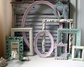 Pink Green and Cream Vintage Frame Set, MADE to ORDER Cottage Chic Set of 9 Frames and Mirror, Oval Ornate Frames, Nursery Decor