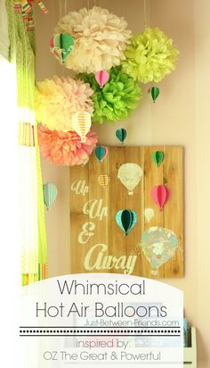 This DIY hot air balloon wall sign is so pretty and perfect for a nursery. I love the mix with a matching paper hot air balloon mobile. Diy Hot Air Balloons, Balloon Crafts, Diy Home Decor Projects, Decor Ideas, Room Ideas, Decorating Ideas, Balloon Wall, Balloon Rides, Balloon Lanterns