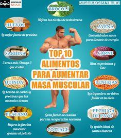 Los mejores 10 alimentos para aumentar masa muscular #nutrición #dieta #alimentos #alimentación #nutricioninfografia