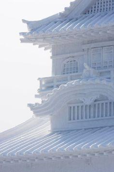 Sapporo, Japan - Sapporo Snow Festival - detail of Snow Pagoda