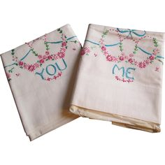 Embroidered Pillowcases Vintage 1950s You and Me Wedding Set Cotton Pink Blue