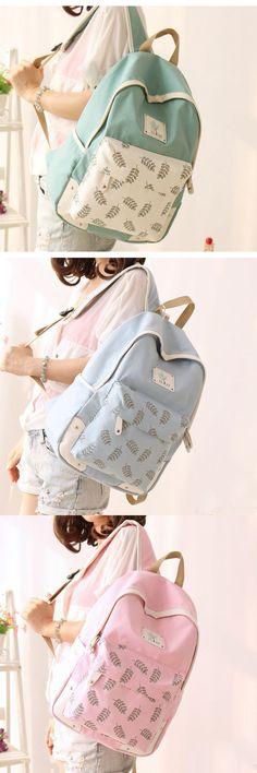 Fresh Leaf Printed College Canvas Backpack Cute Backpack for Travel backpacks for girls, pink backpack, mini backpack, cool backpacks, backpacks for women, leather backpack, travel backpack,