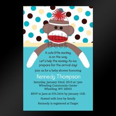 Sock monkey theme shower invite