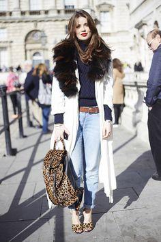 A white coat   boyfriend jeans   leopard-print accessories = instant fashion hi.  #EleganceUntamed
