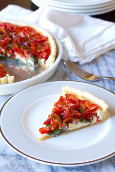 Simple Goat Cheese Red Pepper Tart