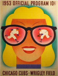 Vintage Poster - Otis Shepard 1953 - Baseball - Sunglasses - Chicago Cubs - Wrigley Field