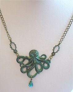 Octopus  Necklace  Verdigris Patina Jewelry  Brass by mcstoneworks, $35.00