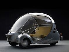 L'Oeuf Electrique, 1942 — an electric bubble car designed by arzens for his personal use in Paris during the German occupation  |  Design & fabrication:  Paul Arzens  |  Dream Cars: innovative design, visionary ideas at The High Museum of Art, Atlanta, Georgia, USA; May 21st–Sept. 7th 2014  |  Courtesy Musée des Arts et Métiers, Paris, France  |  Photo:  Michael Zumbrunn and Urs Schmid