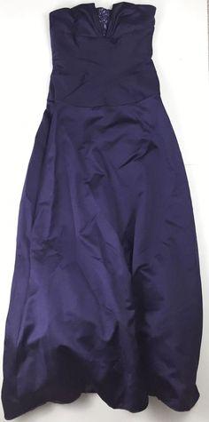 David's Bridal Bridesmaid Dress 2 Rouched Satin Plum Formal Strapless Long | eBay