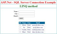 How to use LINQ in ASP.NET Web Application with C#. Connectivity between ASP.Net and SQL - Server using LINQ.