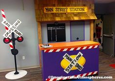 Main Street railroad station theme for children's ministry check-in area, designed by Imagination Trains Birthday Party, Train Party, Pirate Party, Polar Express Train, Vbs Themes, Train Room, Transportation Theme, Church Nursery, Kids Church