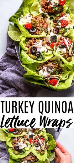 These Taco Quinoa and Turkey Lettuce Wraps Make A Hearty, Healthy, Protein Packed Meal Thats Amazingly Delicious And Quick And Easy To Prepare. Theyre Perfect For Meal Prep Too. Healthy Pastas, Healthy Soup, Healthy Protein, Healthy Dinner Recipes, Whole Food Recipes, Healthy Snacks, Weeknight Recipes, Duck Recipes, Turkey Recipes